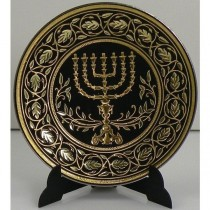 Damascene Gold Menorah Plate