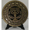 Damascene Gold Menorah Plate