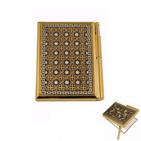 Damascene Gold Geometric Pocket Notepad Agenda