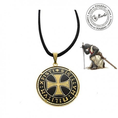 Damascene Templar Cross Pendant