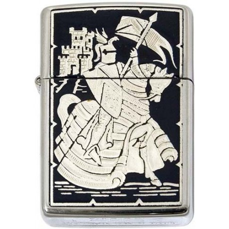 Mounted Knight-Damascene Zippo Lighter