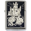Medieval Battle-Damascene Zippo Lighter