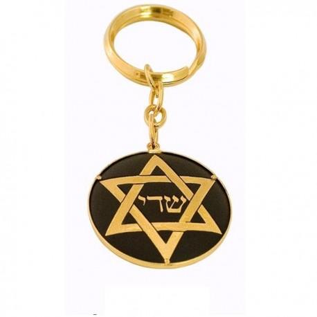 Damascene Gold Star of David Keychain
