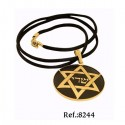Damascene Gold Star of David Round Pendant
