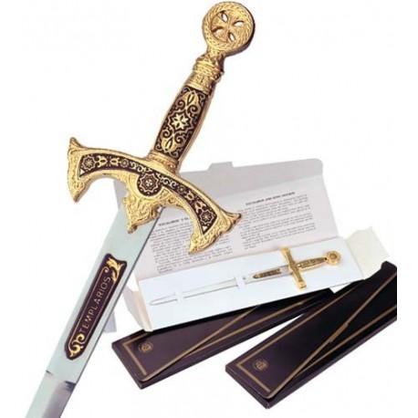 Damascene Templar Knight Sword Letter Opener Type 3