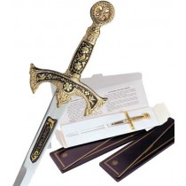 Damascene Templar Knight Sword Letter Opener Type 2