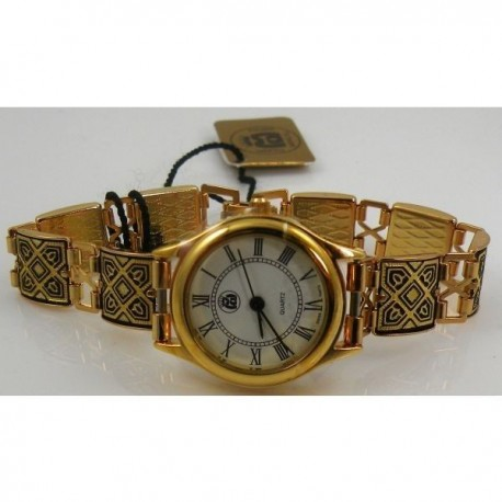 Damascene Gold Geometric Square Link Watch