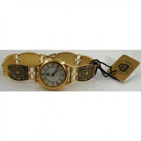 Damascene Gold Star Rectangle Link Watch