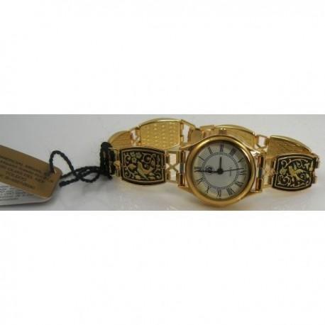 Damascene Gold Bird Rectangle Link Watch