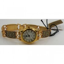 Damascene Gold Geometric Rectangle Link Watch