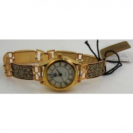 Damascene Gold Geometric Rectangle Link Watch