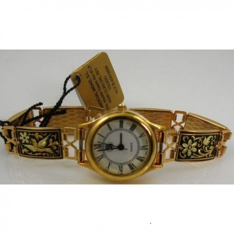 Damascene Gold Bird Rectangle Link Watch